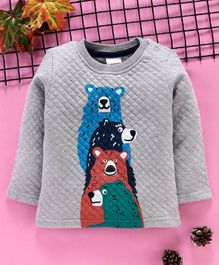 Babyhug Full Sleeves Winter Wear Tee Bear Print - Grey