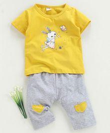 ac591b118 Kookie Kids Half Sleeves Top With Bottom Bunny Print - Yellow