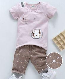 ef1e7f7c8 Kookie Kids Half Sleeves Tee With Shorts Panda Print - Peach