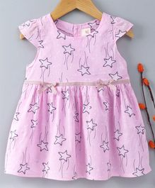 Hao Hao Cap Sleeves Frock Star Print - Pink