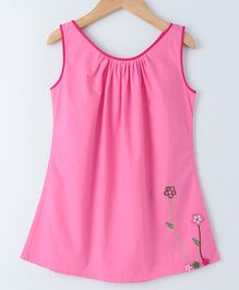 Mish Organic Flower Embroidered Sleeveless Dress - Light Pink