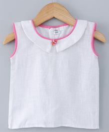Mish Organic Solid Sleeveless Top - White & Pink
