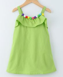 Mish Organic Solid Sleeveless Dress With Pom Pom Detail - Light Green