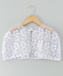 Mish Organic Flower Embroidered Half Sleeves Cape - White