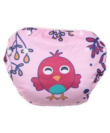 Polka Tots Reusable Swim Diaper Bird Design - Pink