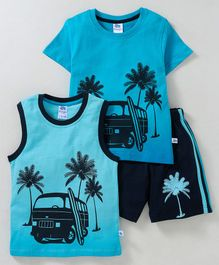 Dear To Dad Car Printed Pack Of 2  Half Sleeves T-Shirt & Shorts Set - Blue
