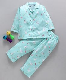 Enfance Core Rabbit Print Full Sleeves Night Suit - Sea Green