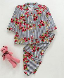 Enfance Core Full Sleeves Striped & Flower Print Night Suit - Red