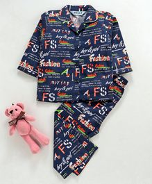 Enfance Core Full Sleeves All Over Text Print Night Suit - Orange