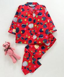 Enfance Core Full Sleeves Strawberry & Pear Print Night Suit - Red