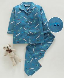 Enfance Core Full Sleeves Surf Board Print Night Suit - Blue