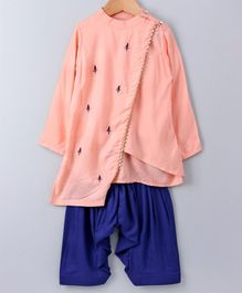 Cute Couture Full Sleeve Kurta With Salwar - Peach & Blue