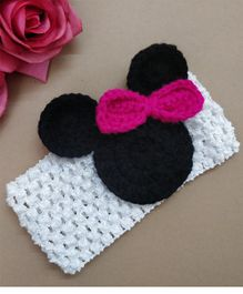 Knit Masters Mouse Face Headband - White & Black