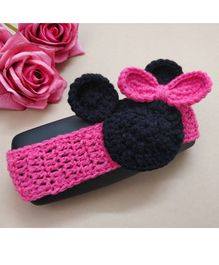 Knit Masters Mouse Face Headband -  Pink & Black