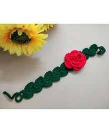 Knit Masters Rose Flower Headband -  Red & Green
