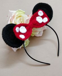 Knit Masters Mouse Ears Bow Hair Band - Red