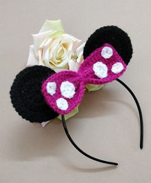 Knit Masters Mouse Ears Bow Hair Band - Pink