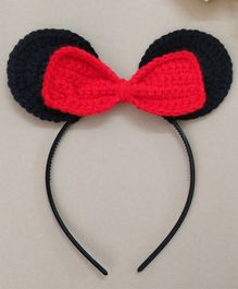 Knit Masters Bow Applique Mouse Ears Hair Band - Red