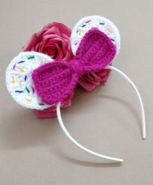 Knit Masters Cupcake With Sprinkles & Bow Hair Band - White