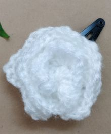 Knit Masters Rose Hair Clip - White