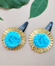 Knit Masters Gota Rose Ethnic Hair Clip Set Of 2 - Blue