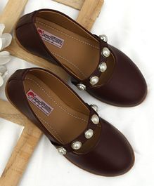 D'Chica Pearl Applique Ballerinas  - Brown
