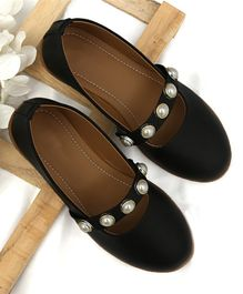 D'Chica Pearl Applique Ballerinas  - Black