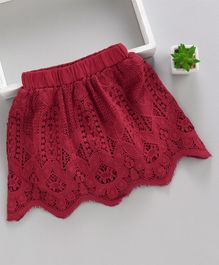 Memory Life Lace Designer Party Wear Skirt - Dark Red