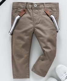 Memory Life Full Length Jeans With Suspenders - Khaki