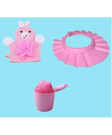 Syga Baby Bath Accessories Combo Pink - Pack of 3