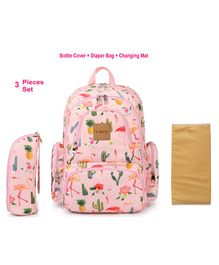 T-Bags Diaper Bag With Stroller Hook Flamingo Print - Pink