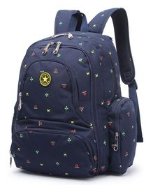 T-Bags Diaper Bag With Stroller Hook Floral Print - Navy Blue
