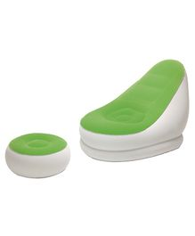 Bestway Comfort Cruiser Chair Sofa With Footrest - Green White