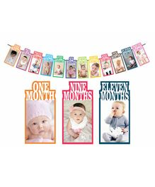 Syga 1 to 12 Month Photo Banner With Writing Space At The Back Rainbow Color Theme - Multicolor