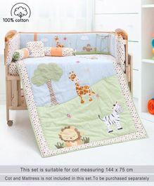 Babyhug Jungle Safari Premium Crib Large Bedding Set Multicolor - 6 Pieces