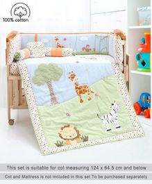 Babyhug Premium Crib Bedding Set Jungle Theme Small Pack of 6 - Multicolor