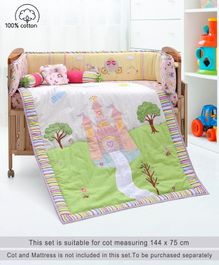 Babyhug Premium Crib Bedding Set Pricess Theme Large Pack of 6 - Multicolor