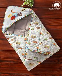 Babyhug Premium Cotton Hooded Wrapper Transport Theme - Multicolor