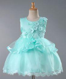 5e2ba210a Mark & Mia Sleeveless Floral Embellished Party Wear Frock - Sea Green