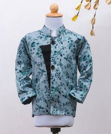 Knotty Kids Full Sleeves Flower Print Chinese Collar Neck Coat - Grey