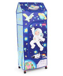 Babyhug Foldable 4 Shelved Almirah With Wheels Space Adventure Print - Dark Blue