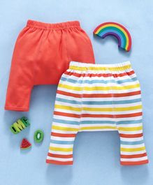 Babyhug Cotton Ankle Length Striped & Solid Diaper Leggings Pack of 2 - Orange