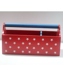 Kidoz Wooden Stars Printed Storage Container - Red