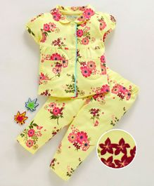 Mom's Love Short Sleeves Night Suit Floral Print - Yellow