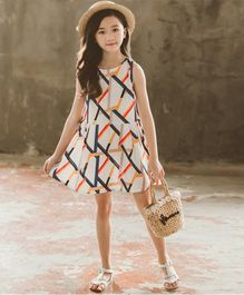 Pre Order - Awabox Abstract Print Sleeveless Dress - White