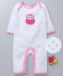 Mother's Choice Owl Patch Full Sleeves Romper - Pink