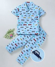 Teddy Half Sleeves Night Suit Vehicle Print - Blue