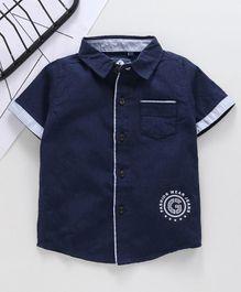 b7d51af8d523f Kookie Kids Half Sleeves Solid Shirt - Dark Blue