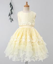 Babyhug Sleeveless Party Wear Ruffle Frock Floral Motifs - Light Yellow