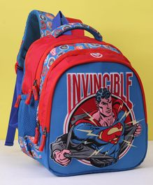 DC Comics School Bag Superman Print Red Blue - Height 14 inches